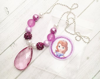 8 Princess Sofia Amulet Necklace Party Favors Sofia the First Birthday Party Activity Sofia Necklace Party Favor Sofia the 1st Party Favor
