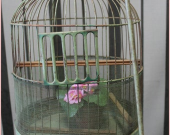 vintage bird cage and stand in fabulous shabby jadeite green  ~ French Cottage chic ~ Farmhouse  Vintage garden decor