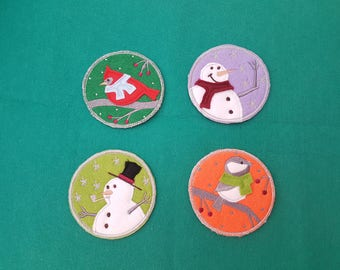 Christmas coasters made out of felt, lightweight