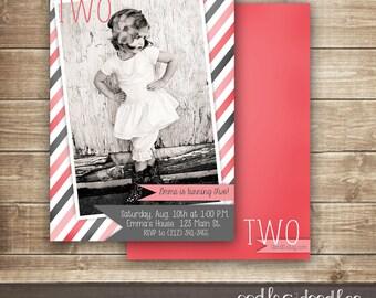 Photo Birthday  Invitation, 1st, 2nd, 3rd Birthday, Girl's Birthday Invitation, Vintage Pink & Gray Stripes - Printable or Printed