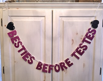 Besties Before Testes Banner - Anti-Valentines Day Banner / Photo Prop