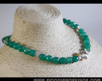 Handmade Green Natural Aventurine Beads Necklace, Sterling Silver Necklace, Beaded Necklace, Charm Necklace
