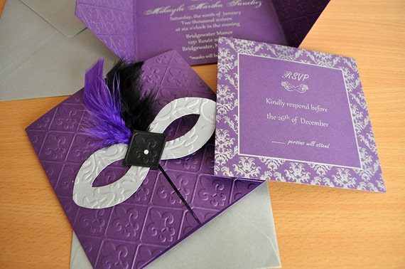 Masquerade Wedding Invitations: Masquerade Invitations Purple Black Silver/ Wedding