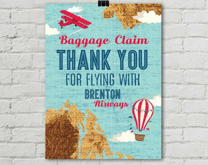 """Retro Airplane Poster 18""""x24"""", Baggage Claim Airplane Poster, Aviator Birthday, Map Party, 1st Birthday 