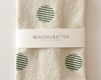 Stripe Circle Towel : Ivory Ground - Dark Green/White Print