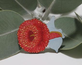Red Flower Brooch, Australian Badge, Australian Flower, Silver Princess, Gum Blossom, Australian Pin, Australian Gifts, Lapel Pin, Wood Pin