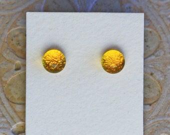 Dichroic Glass Earrings, Canary Yellow  DGE-1302