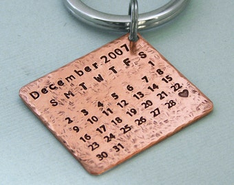Little Rustic Calendar Key Ring - Mark the Date - Hand Stamped Copper - Anniversary - Birthday -