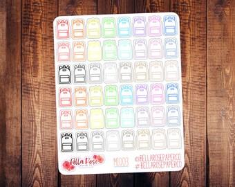 Backpack Mini Icon Planner Stickers, School Stickers, Mini Icon Sticker, for use in Erin Condren Planners, Happy Planner MI003
