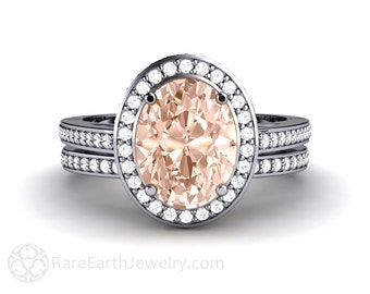 Oval Morganite Halo Ring Morganite Engagement Ring and Wedding Ring Bridal Set in Platinum or Palladium with Conflict Free Diamonds