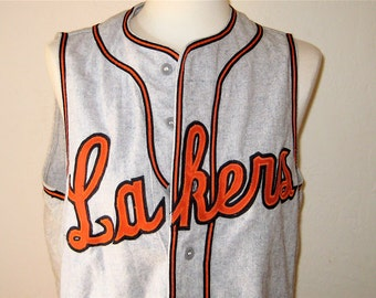 Vintage Lakers Sports Jersey Wilson Baseball Softball Jersey Wool Shirt