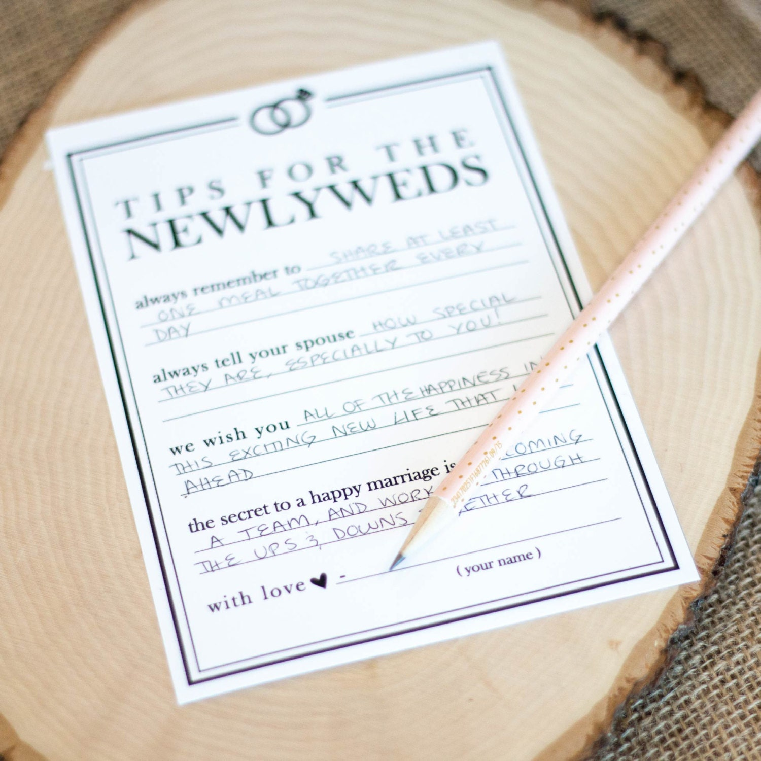 printable wedding advice cards newlywed tip jar instant