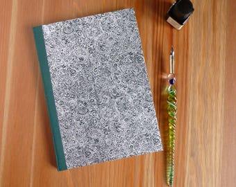 A5, hand bound notebook, hardback notebook, green, silver, journal, bullet journal