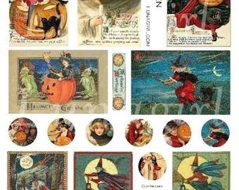 SORCIÈRES d'HALLOWEEN digital collage feuille, cartes postales femmes victoriennes, pendentifs de cercles de 1 pouce, images d'art altéré, Vintage Ephemera Télécharger