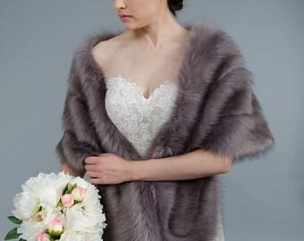 Dark Grey faux fur wrap bridal wrap faux fur shrug faux fur stole faux fur shawl faux fur cape B001-darkgrey