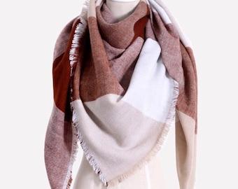 Vanilla Latte Blanket Scarf - valentine's gift, gift for girlfriend, large scarf, winter scarf, blanket scarf, plaid scarf, tartan scarf