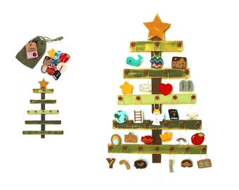 Deluxe Felt Heirloom Children's Jesse Tree Advent Ornament and Tree Set *tree on back order* Advent Ornaments Bible Christmas Countdown