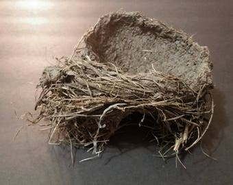 Real, Natural Sturdy Tight-Weave Bird's Nest 2 with Mud and Wild Grass Bird Nest with Branch Imprint