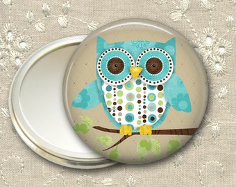 cute owl pocket mirror,  owl hand mirror, mirror for purse, gift for her,  bridesmaid gift, stocking stuffer  MIR-100