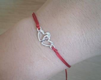Friendship Bracelet Red String Bracelet Kabbalah Bracelet Red Thread Bracelet Friendship String Bracelet Two Hearts Bracelet Heart Bracelet