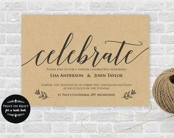 Celebrate Invitation Printable, Dinner Party, Party Invitation Microsoft Word Format (docx), Instant Download, Editable