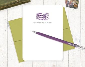 persönliche Note Karten Briefpapierset - VINTAGE BOOKS - Set von 8 Klappkarten - personalisiert stationär - Farbe wählen