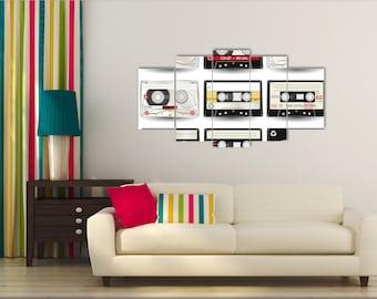 Magnetic cassette, Canvas Print, Cassette Wall Art, Wall decor, Cassette art, Cassette canvas, Compact cassette, Audio cassette, Wall art