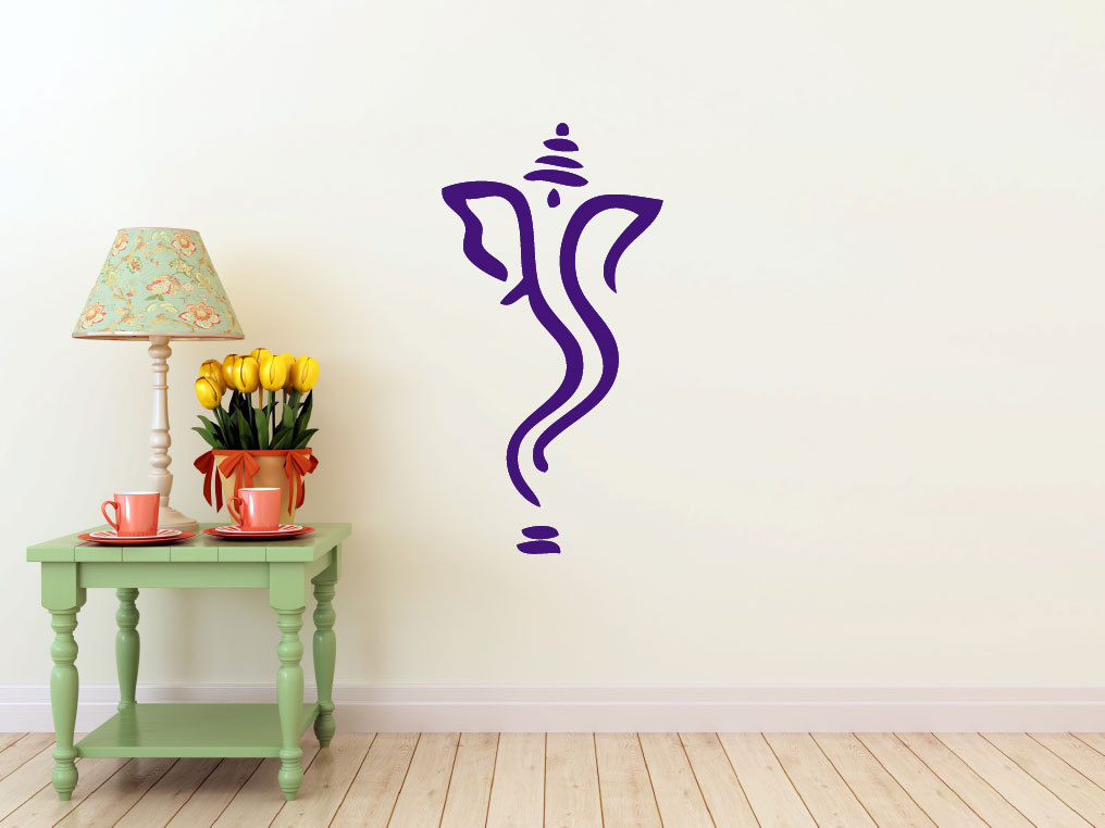 Abstract Ganesh Vinyl Wall Decal Hindi Hindu India Interior