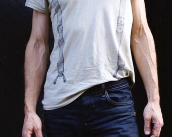 final few Suspender tshirt - pale green - screenprint tshirt - tee - mens - unisex - carousel ink - indie art