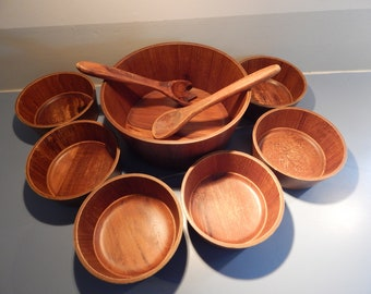 Teak Salad bowl set, 6 piece salad bowl set, wooden bowl set, Teak, Mid Century, shipping included in price