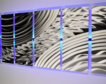 Lighted Metal Wall Art LED Metal Wall Sculpture Silver Wall Art Color Changing Wall Art -  Modern Abstract Wall Art Unique Painting