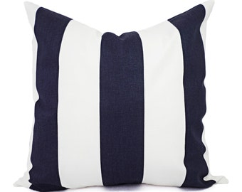 Navy Blue Pillow Covers - Two Navy Striped Pillow Covers - Nautical Pillow - Pillow Case - Navy Accent Pillows - Decorative Pillow