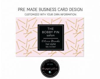 Salon business card etsy business card design bobby pin business card hair salon business card hair stylist business card calling colourmoves