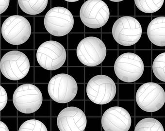 Volleyballs Allover in Black by David Textiles Fleece Fabric by the Yard