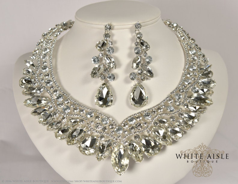 Crystal Wedding Jewelry Set Vintage Inspired Necklace Rhinestone