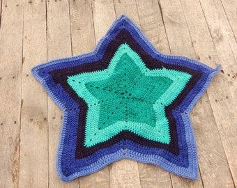 Ultraviolet Star Blanket; Girl Baby Blanket; Dark Blue and Purple Crocheted Blanket; Baby Shower Gift; Handmade Blanket; Ready to Ship