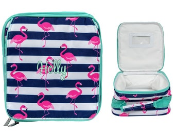 Lunch Bag Lunch Box Lunch Bag for Women Lunch Tote Lunch Bag Insulated Lunch box for women Lunch Bag Flamingo Lunch  With Mint Trim In Stock