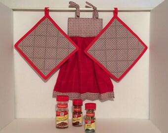 Oven Door Towel & Potholders - Red