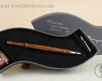 Wave Writing Pen and Ink Set with Turned Wood Pen