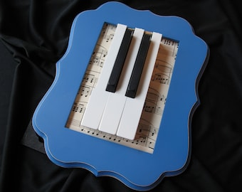 Blue Framed Piano Keys - Upcycled Piano Keys - Piano Studio Decor - Gift for Music or Piano Teacher- Musical Decor- Upcycled Art