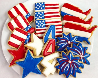 FOURTH of JULY COOKIES, Decorated Sugar Cookie Gift Box, 18 Cookies
