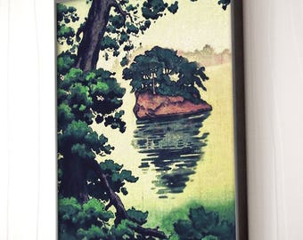 "Vintage Japanese Ukiyo-e Framed Art Print signed Landscape Poster by Kijiermono ""Autumn Rain at Yama"" Wall Home Decor"