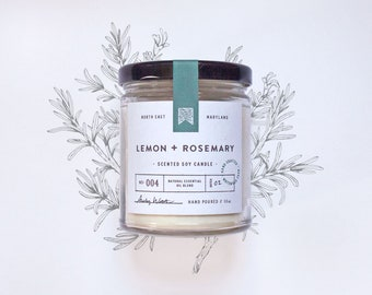 No 004 - LEMON + ROSEMARY - Natural Scented Soy Candle