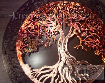 7th Anniversary Gift  (Copper) Tree of Life with Dark Metalic Grey Background - Large