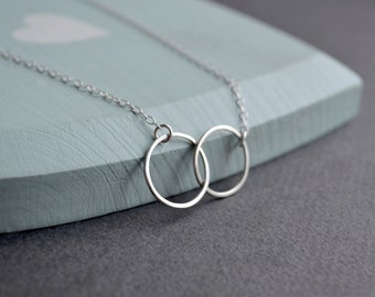 Sterling Silver Circles Necklace | Double Hoop Necklace | Sterling Silver Double Circles Necklace