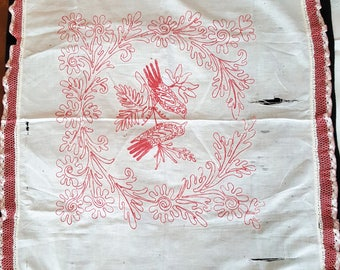 Vintage Red Work Pillow Overlay