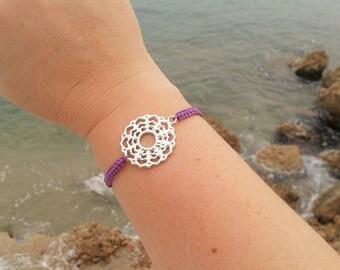 CROWN CHAKRA bracelet in Tibetan silver and macrame cord. SEVENTH Chakra Bracelet. Handmade. Choose your color!