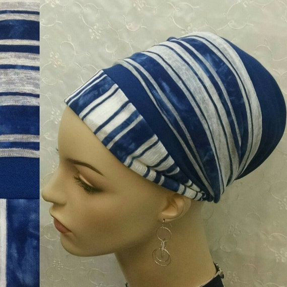 Chic tie-dye blue and white sinar tichel, tichels, head wrap, head scarf, hair snood, chemo scarf, alopecia, Jewish head covering