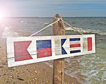 Custom Nautical Flag Signs on Reclaimed Wood