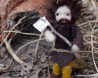 The Medieval Woodcutter Miniature Needle Felted and Hanstitched Doll